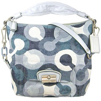 Coach Kristin Op Art Shoulder Convertible Hobo Bag Purse Handbag 14860 Blue Mutli