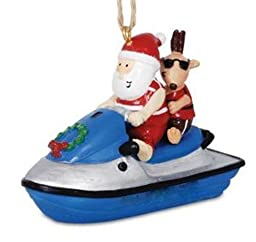 1 X Jolly Santa On Jet Ski with Reindeer Christmas Holiday Ornament by Cape Shore