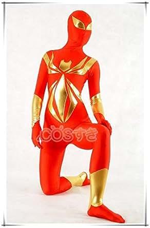 全身タイツ スパイダーマン風  ゴールド レッド 大人用 弾力と伸縮性あり ハロウイン ステージ衣装 コスチューム コスプレ衣装 在庫