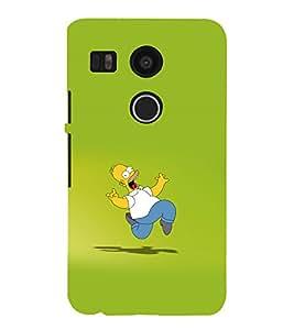 printtech Homer Cartoon Running Back Case Cover for LG Google Nexus 5X / LG Google Nexus 5X (2nd Gen)