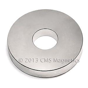 "One Piece N42 OD 3"" x ID 1"" x 1/2"" Rare Earth Neodymium Magnet CMS Magnetics®"