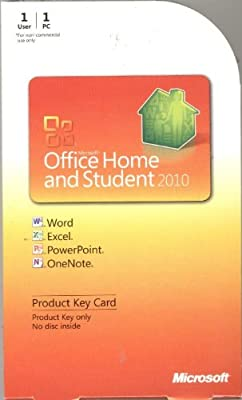 Microsoft Office Home and Student 2010 Product Key Card for 1 User/PC Only