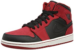 Nike Jordan Men's Air Jordan 1 Mid Black/Black/Gym Red Basketball Shoe 10.5 Men US