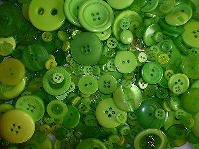 MIXED GREEN BUTTONS ASSORTED SHAPES SIZES ART CRAFT SEWING CARD SCRAPBOOK MAKE by ASVP Shop