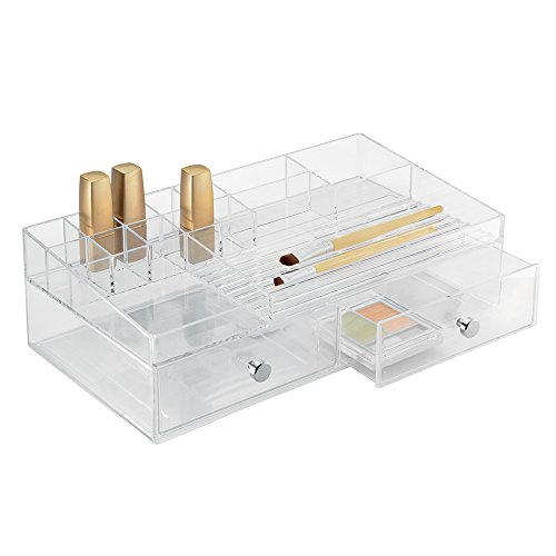 InterDesign 37460EU Clarity Organiseur de Cosmétiques 2 Tiroirs Transparent 32,5 x 18 x 10 cm