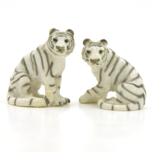 Bengal Tiger Miniature Collectible Figurine Collection, 1.5-inch, Set of 2 (White)