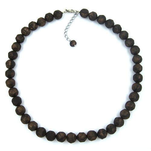 NECKLACE, BAROQUE BEADS 8MM, BROWN 55CM