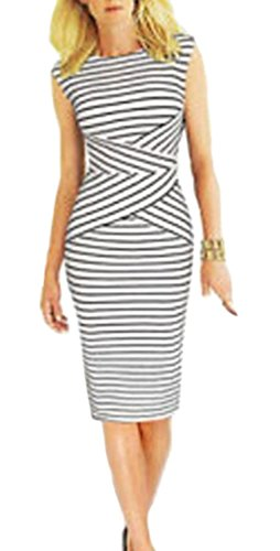 BAIMIL Women Striped Curvy Summer Wear to Work Casual Party Pencil Dress White