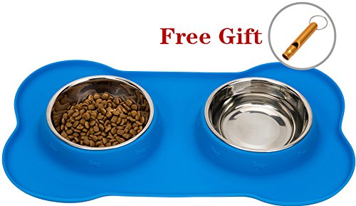 Stainless Steel Dog Bowl No Spill Food and Water Double Bowls for Pet Puppy Cat with Silicone Mat (Dog Water Dispenser Steel compare prices)