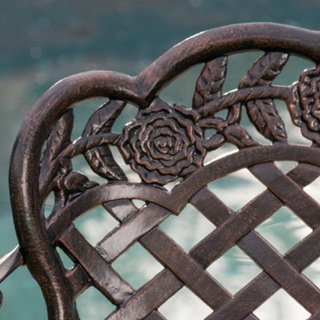 Christopher Knight Home Lucia Outdoor Garden Bench Cast Aluminum Construction Antique Copper Finish 2