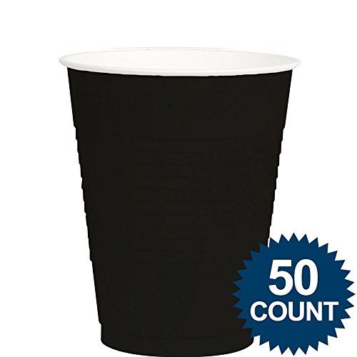 Amscan Big Party Pack 50 Count Plastic Cups, 12-Ounce, Black