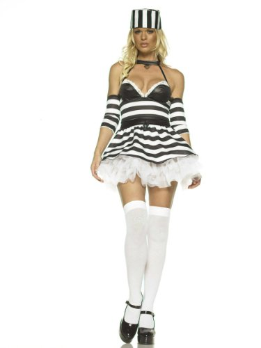 Sexy Jailbait Theatre Costumes Prisoner Convict Black White
