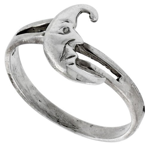 Sterling Silver Crescent Moon Ring, size 6