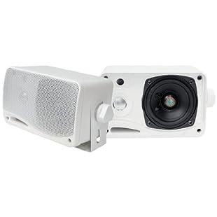PYLE PLMR24 3.5 3-Way Weather Proof Mini Box Speaker System (White)