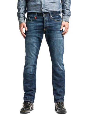 Replay Uomo Waitom Regular Slim Jeans, Blu, Blue Denim, 30W x 32L