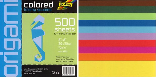 Square Colored 8-by-8-Inch Origami Paper, 500 Sheets