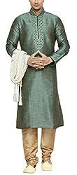 Indian Poshakh Men's Silk Sherwani (1174_40, 40, Green and Beige)