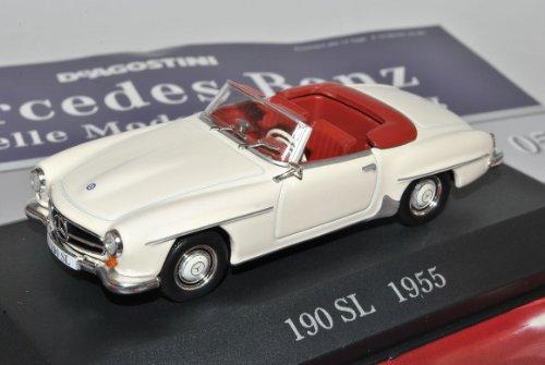 Mercedes-Benz 190SL Roadster Weiss 1955 W121 BII Inkl Zeitschrift Nr 5 1/43 Ixo Modell Auto