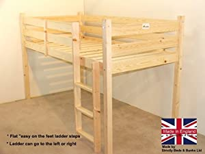 cabin bed - 2ft 6 small single wooden midi sleeper - pine bed - FAST DELIVERY