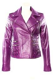 \'MYSTIQUE\' Ladies PURPLE Biker Style Motorcycle Designer Nappa Leather Jacket