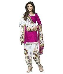 Clickedia Women's American Crepe Printed Pink White Patiala Suit- Dress Material