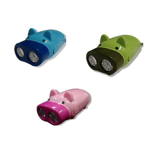 PK Green Pig Shaped Pump Up LED Torch - Dynamo / Hand Pressing / Childrens Light / Eco Friendly - BLUE