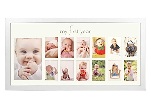 Baby's First Year Frame in Elegant White Natural Wood - My First Year Baby Picture Frame for Photo Memories (Silver Baby Frame compare prices)