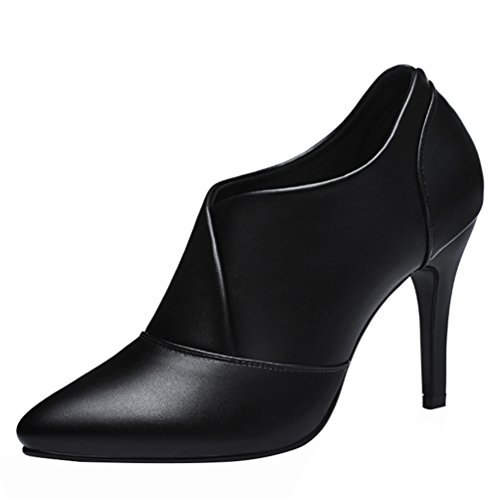 Kiwii Women Fashion Elegant Casual Comfort PU Leather Pointed Toe Ankle High Thin Heel Pump Shoes