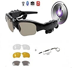 PHEVOS Wireless Bluetooth Sunglasses Headset Headphones Polaroid polarized lenses For iPhone Samsung HTC Nokia,SONY,Smart Phones or PC Tablets+Free 3 pair lens(Yellow,Gray,Clear)