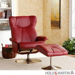 Holly & Martin Brayden Leather Recliner Chair and Ottoman in Brick Red