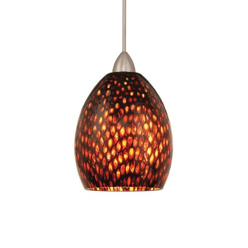 Wac Lighting Mp-Led515-Am/Bn Fiore 5W 12V 3500K Led Monopoint Pendant With Amber Shade And Brushed Nickel Finish