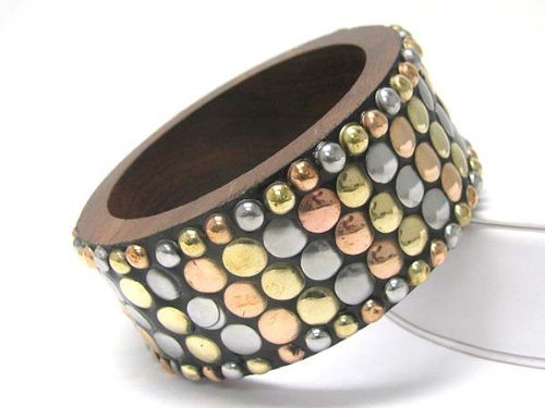 Beautiful Ludia X-Large/Thick Tri-Tone Studded Wood Bangle/Bracelet