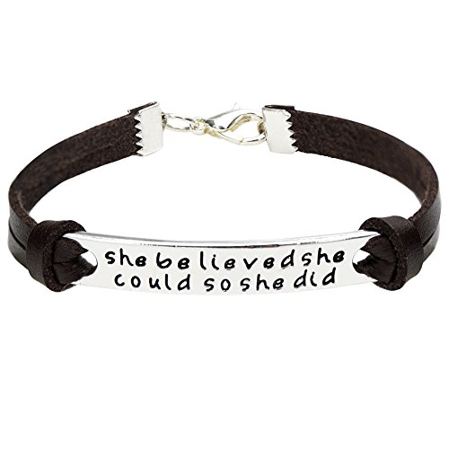 """O.RIYA Leather Bracelets """" She Believe She Could So She Did """" Identification Bracelets (Brown)"""