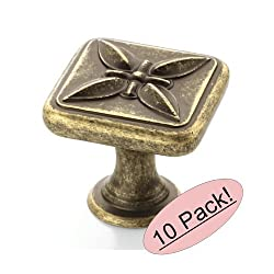 Amerock BP27009-R2 Weathered Brass Cabinet Hardware Knob - 1-1/8 Square - 10 Pack
