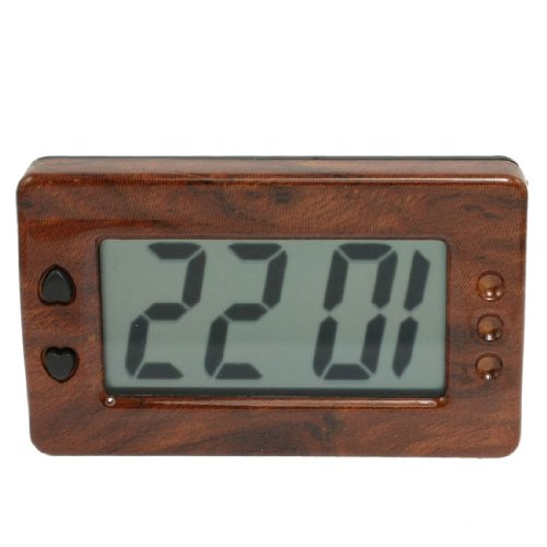 Brown Black Rectangle Shell Car Dashboard Lcd Display Digital Clock
