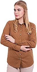 TightHugs Women's Regular Fit Shirt ( NMT9ZJJ-02_S, Brown, Small)