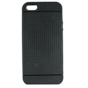 Heartly New Retro Dotted Design Hole Soft TPU Matte Bumper Back Case Cover For Apple iphone 5 5S 5G / Apple iPhone SE - Rugged Black