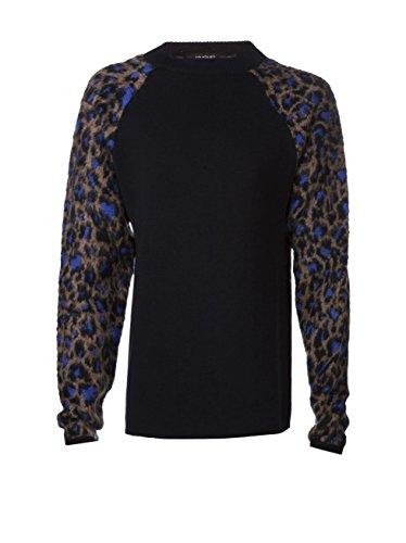 Mugler Men's Leopard Sleeve Sweater