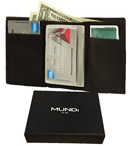 MUNDI Mens Classic Smooth Soft Antique Leather Trifold Wallet With Gift Box And Removable Plastic Window - Black (FREE RFID Blocking Cards With Purchase)