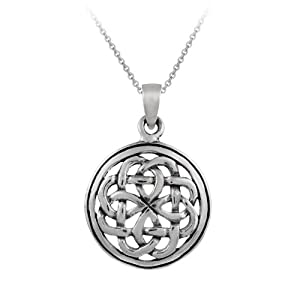 Sterling Silver Celtic Knot Round Pendant with Rolo Chain, 18