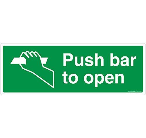 Safety Sign Store 305-1029PC FE-01-Barra per Push-Open materiale Self Adhesive, 3 m in policarbonato, 0,25 Mm X 297 W, 105 L