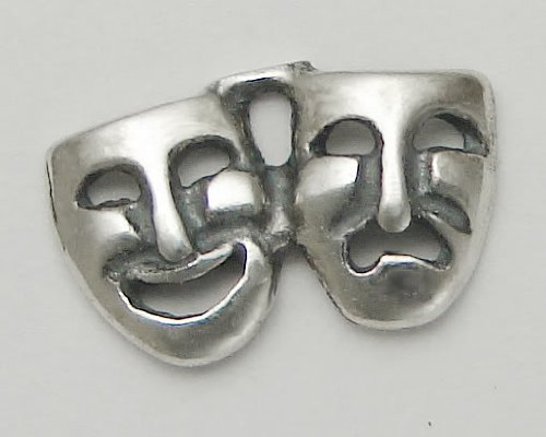 A Little Comedy Tragedy Mask Earring in Sterling Silver...A Single...Why Buy Two, When One Will Do?