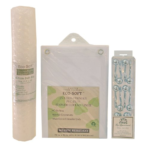 Excell  Bath Bundles, Including Shower Curtain Liner, White