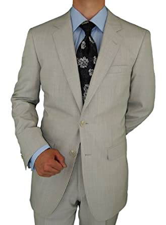 100% Pure Wool Suit For Everyday Use 2 Button Jacket Plus Flat Front Pants Super 150'S Italian Men's Suits Light Gray (42 Short)