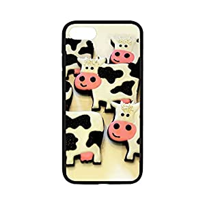 DreamOffice Custom Hard Protect Case Back Cover Bumper Lightweight for iPhone 7,Cartoon Cute Cow Art iPhone 7 4.7