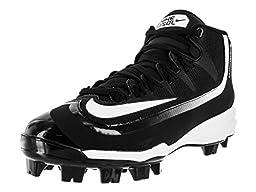 Nike Men\'s Huarache 2KFilth Pro Mid MCS Black/White Baseball Cleat 7.5 Men US