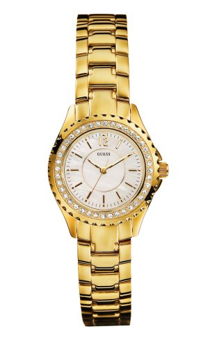 Guess Sport Steel - Reloj analógico de mujer de cuarzo con correa de acero inoxidable dorada - sumergible a 30 metros