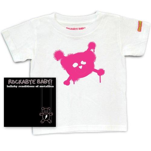 Rockabye Baby Lullaby Renditions of Metallica Rockabye Baby 100 Organic Cotton Toddler T Shirt White Pink