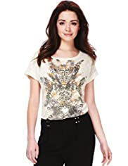 Petite Aztec Print Placement Top