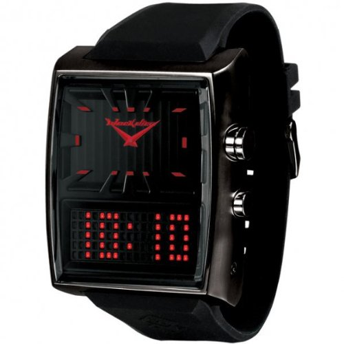 Black Dice Men's Duo Project Watch BD 049 03 With Dual Time Display Analogue, a Red LED Display and Stainless Steel Oversized Case With PU Strap
